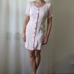 Vintage Light Pink Button Down Mini Dress XS